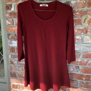 Flax deep red long sleeve dress size Small